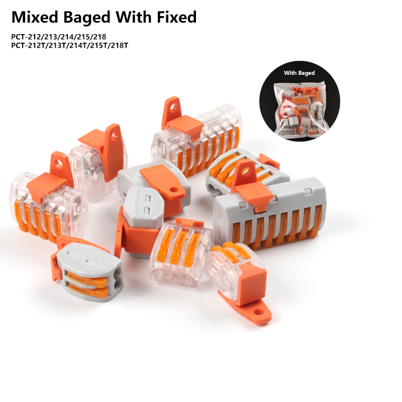 Mixed Bag Mini Fast Wire Connectors With Fixing Fitting Universal Compact Wiring Conductor Push-in Terminal Block PCT-212-218