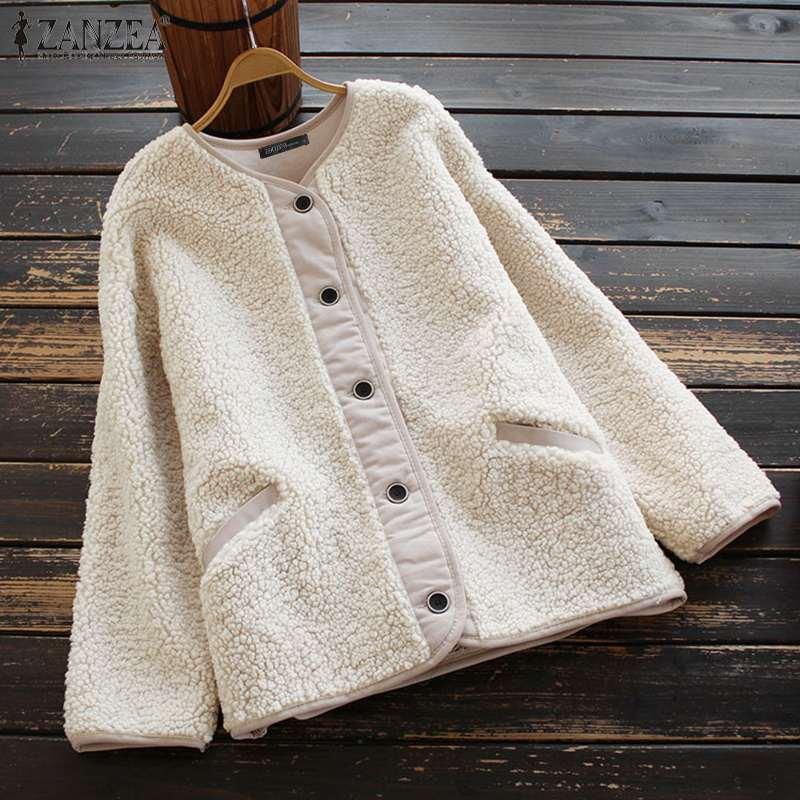 Fashion Women's Fluffy Jackets 2021 ZANZEA Casual Fleece Coats Long Sleeve Outwears Female Button Down Tunic Oversized Overcoats