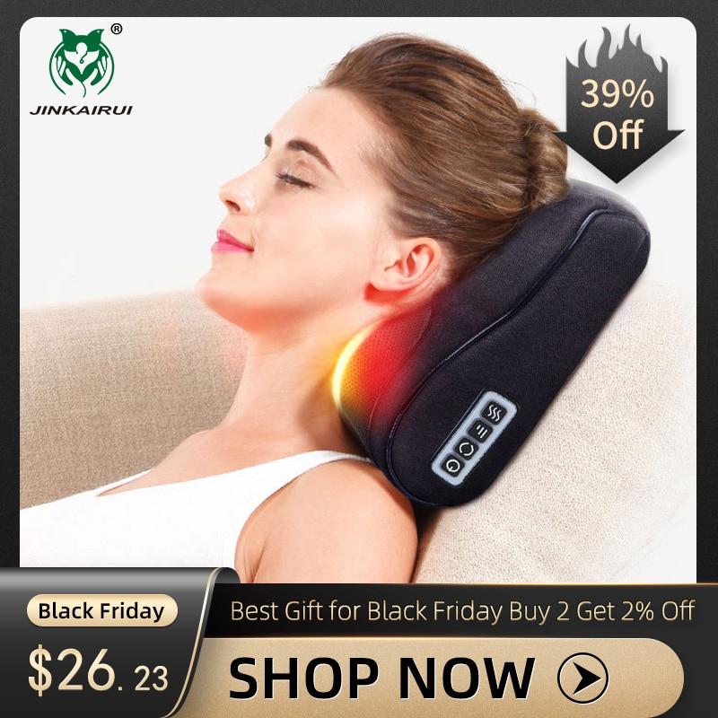Black Shiatsu Massager Infrared Heat Neck Shoulder Back Body Multifunctional Massage Pillow Device Cervical Healthy Massageador