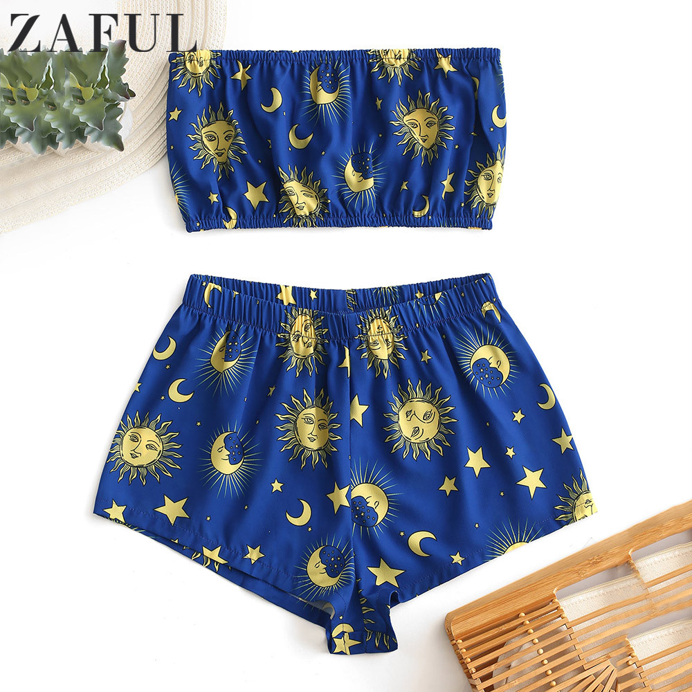 ZAFUL Women's Sets Star Sun And Moon Bandeau Top And Shorts Set Sleeveless Elastic High Waist Summer Suit Fashion Two Piece Set