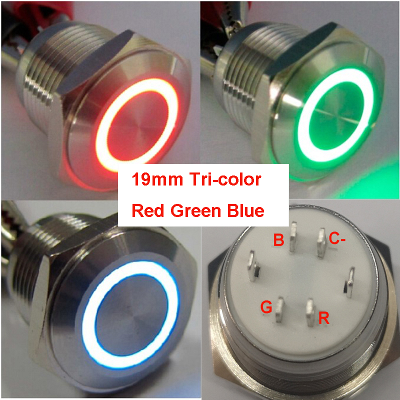 Common cathode <font><b>19mm</b></font> 3.3V 6V 12V 24V Tri-color ring <font><b>LED</b></font> RGB reset ring illuminated Stainless steel electric <font><b>Switch</b></font> image