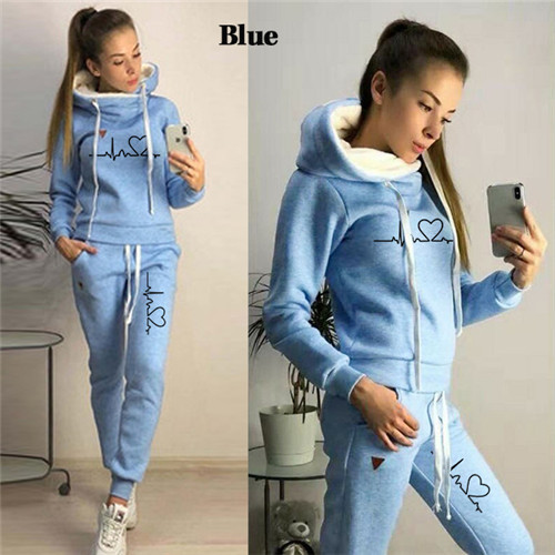 Women Tracksuit Pullovers Hoodies and Black Pants Autumn Winter Suit Female Solid Color Casual Full Length Trousers Outfits 2021 17