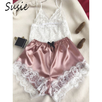 Womens Sexy Eyelash Floral Lace Lingerie Set V-Neck Crop Top Bowknot Faux Silk Wide Leg Shorts Contrast Color Pajamas Sleepwear contrast tied neck allover fringe top