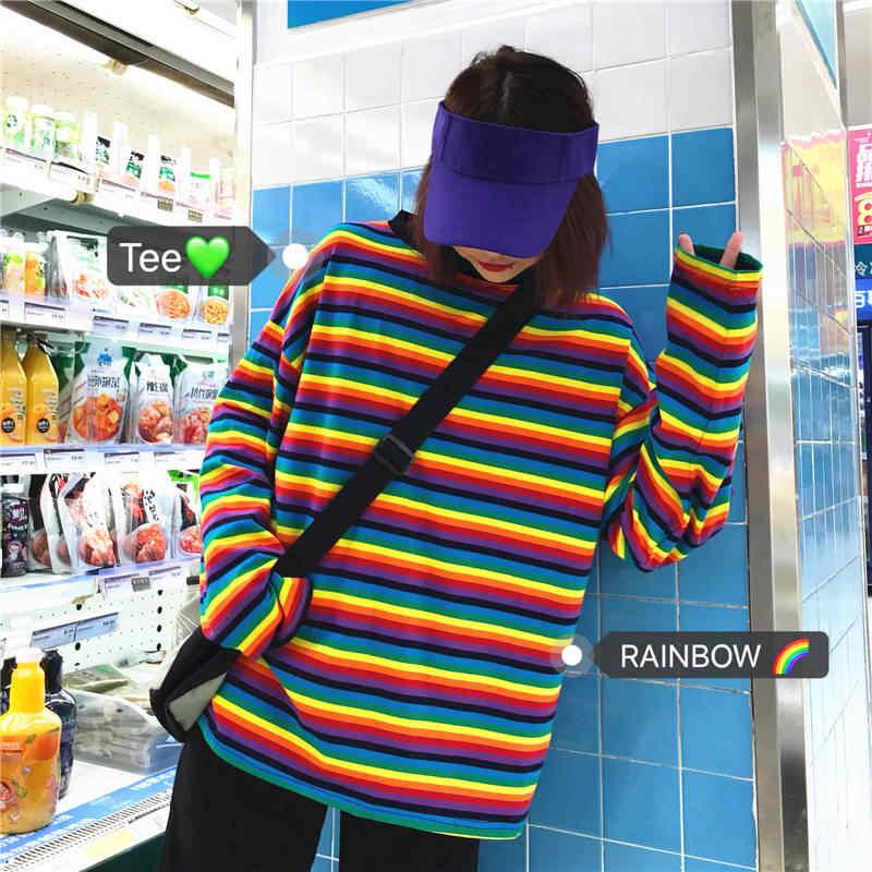 Винтажные свободные полосатые радужные женские футболки с длинным рукавом корейские повседневные женские рубашки весенне-Осенние футболки NineC-14