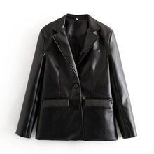 Vintage Chic Pu Leather Blazers Women Fashion Single Breasted Notched B