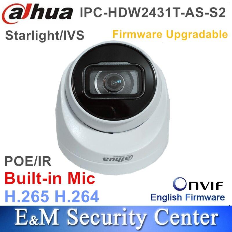 Oryginalny Dahua angielski Starlight IPC-HDW2431T-AS-S2 wymienić IPC-HDW4433C-A 4MP IP POE IVS WDR IR gałka oczna kamera sieciowa
