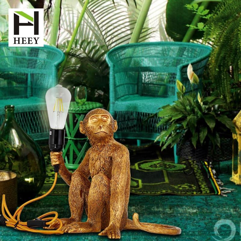 Скандинавская творческая личность пеньковый Канат смолы подвесной светильник гостиная лампа в форме обезьяны кабинет спальня ресторан светильник - 2