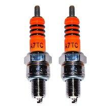 2 pces alto desempenho 3 eletrodo irídio vela de ignição 10mm para scooter atv quads para gy6 50cc 110cc 125cc 150cc