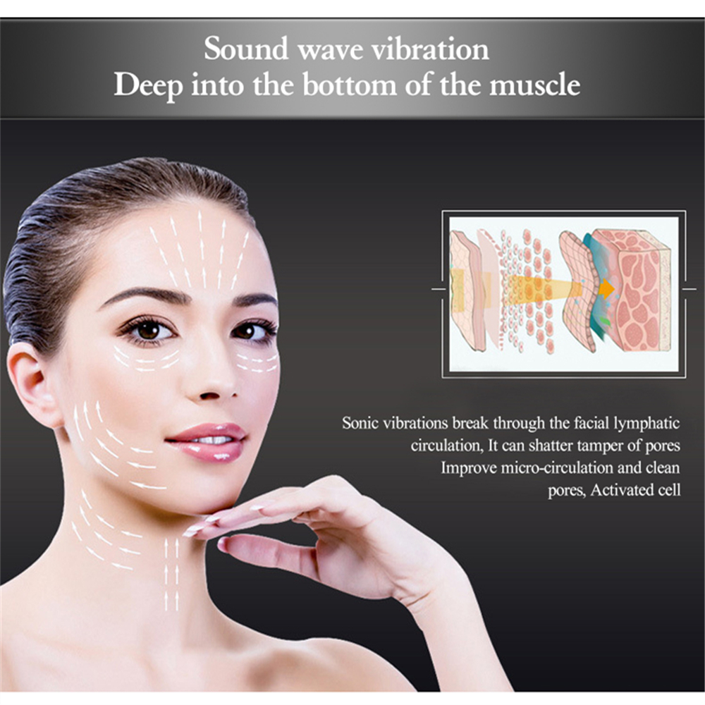Купить с кэшбэком Ultrasonic Cryotherapy Beauty Device LED Hot Cold Hammer Facial Lifting Tightening  Vibration Massager Face Body Spa Tools