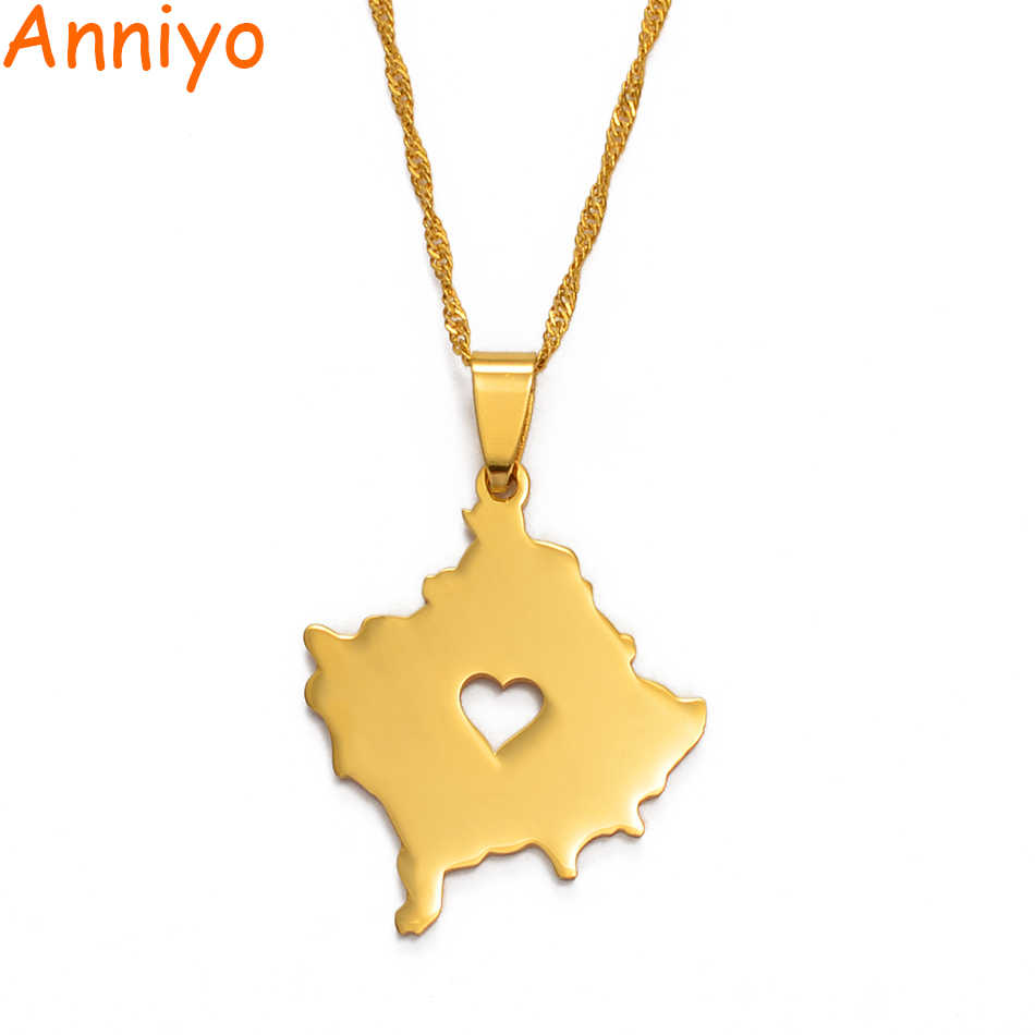 Anniyo Heart Kosovo Map Necklace Gold Color Jewelry Kosoves Pendant Jewellery #003121