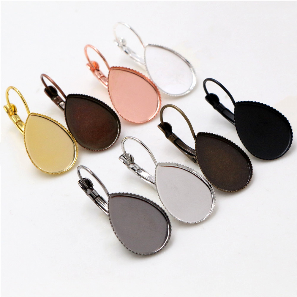 10x14mm 13x18mm 18x25mm 10pcs/lots 8 Colors Plated Drop Style French Lever Back Earrings Blank/Base,Fit Drop Cabochons Earrings