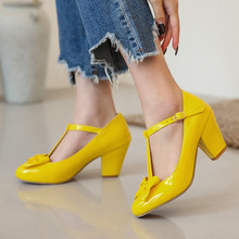 Women Pumps Shoes T-Strap High-Heels Patent Leather Meotina Round-Toe Size-33-46 Party