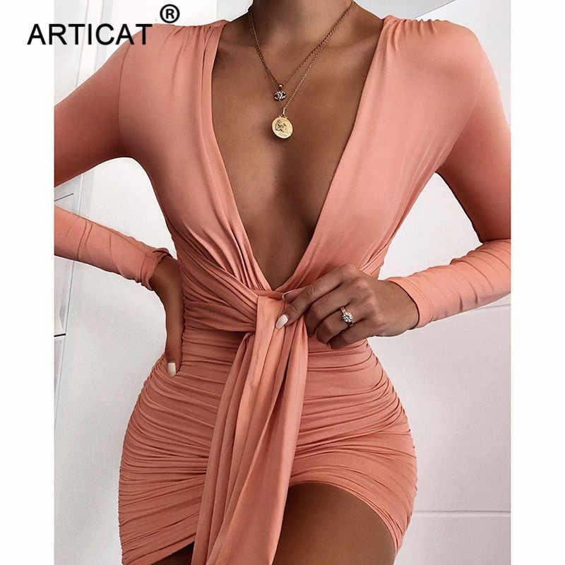 Articat エレガントなディープ V ネックのセクシーな秋のドレスの女性 2020 長袖プリーツボディコンパーティードレスショートカジュアルドレス Vestidos