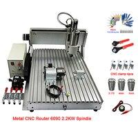 금속 유리 나무 cnc 라우터 4 축 VFD 2.2KW CNC 6090 밀링 머신 USB 포트 조각 라우터