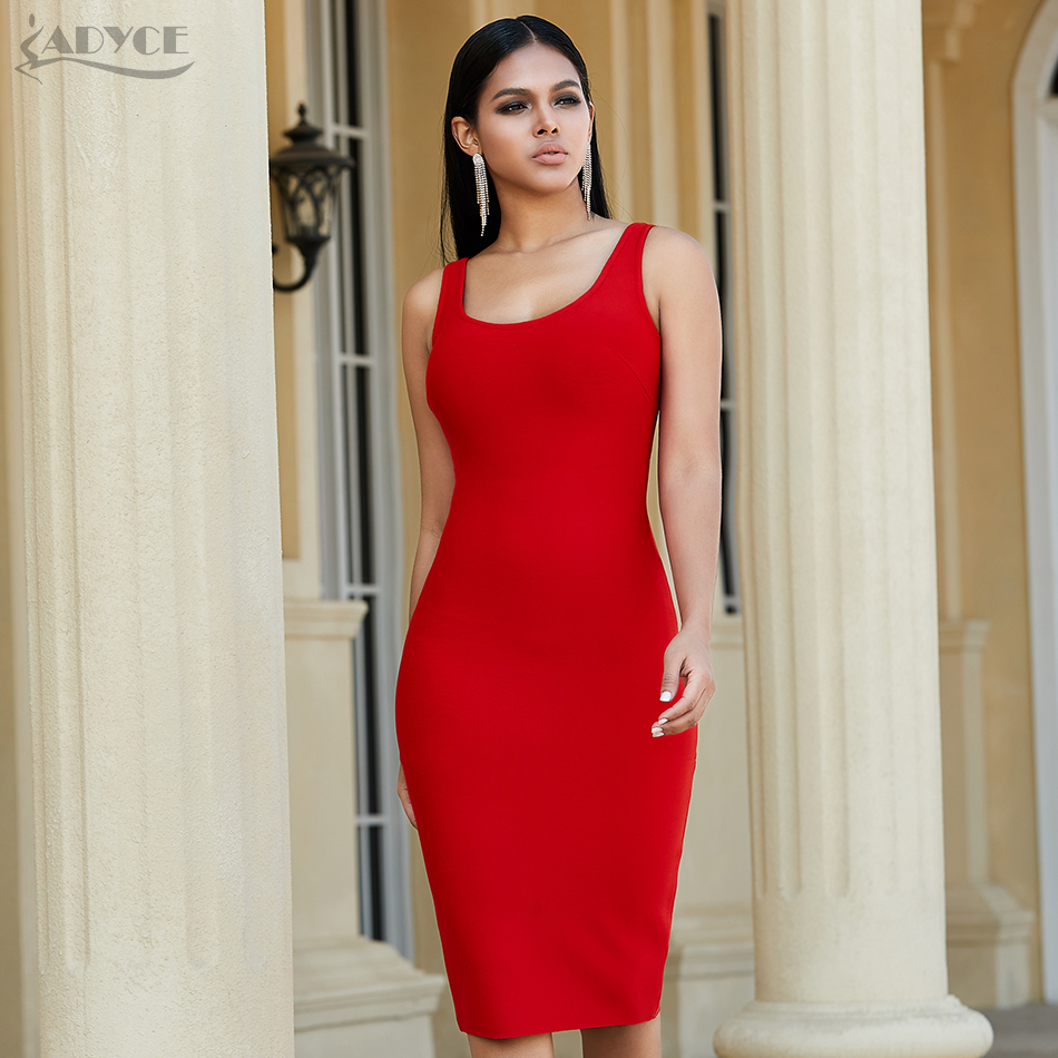 Adyce 2020 New Summer Red Backless Bandage Dress Women Sexy Spaghetti Strap Bodycon Club Celebrity Evening Party Dress Vestidos