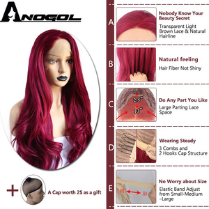 Image 3 - Anogol Burgundy Synthetic Lace Front Wig High Temperature Fiber Long Natural Body Wave Wine Red Wigs For Women
