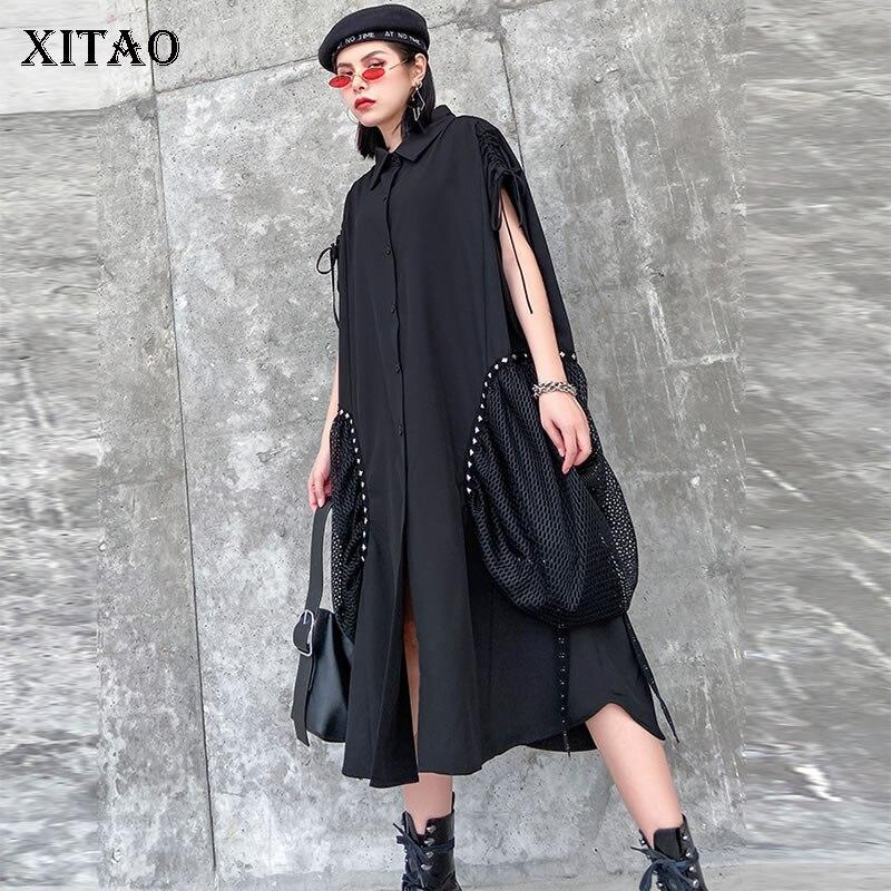 XITAO Retro Hong Kong Design Dress Black Hollow Out Patchwork Rivet Big Pocket Fashion Women Clothes 2020 Spring Dress  GCC3395