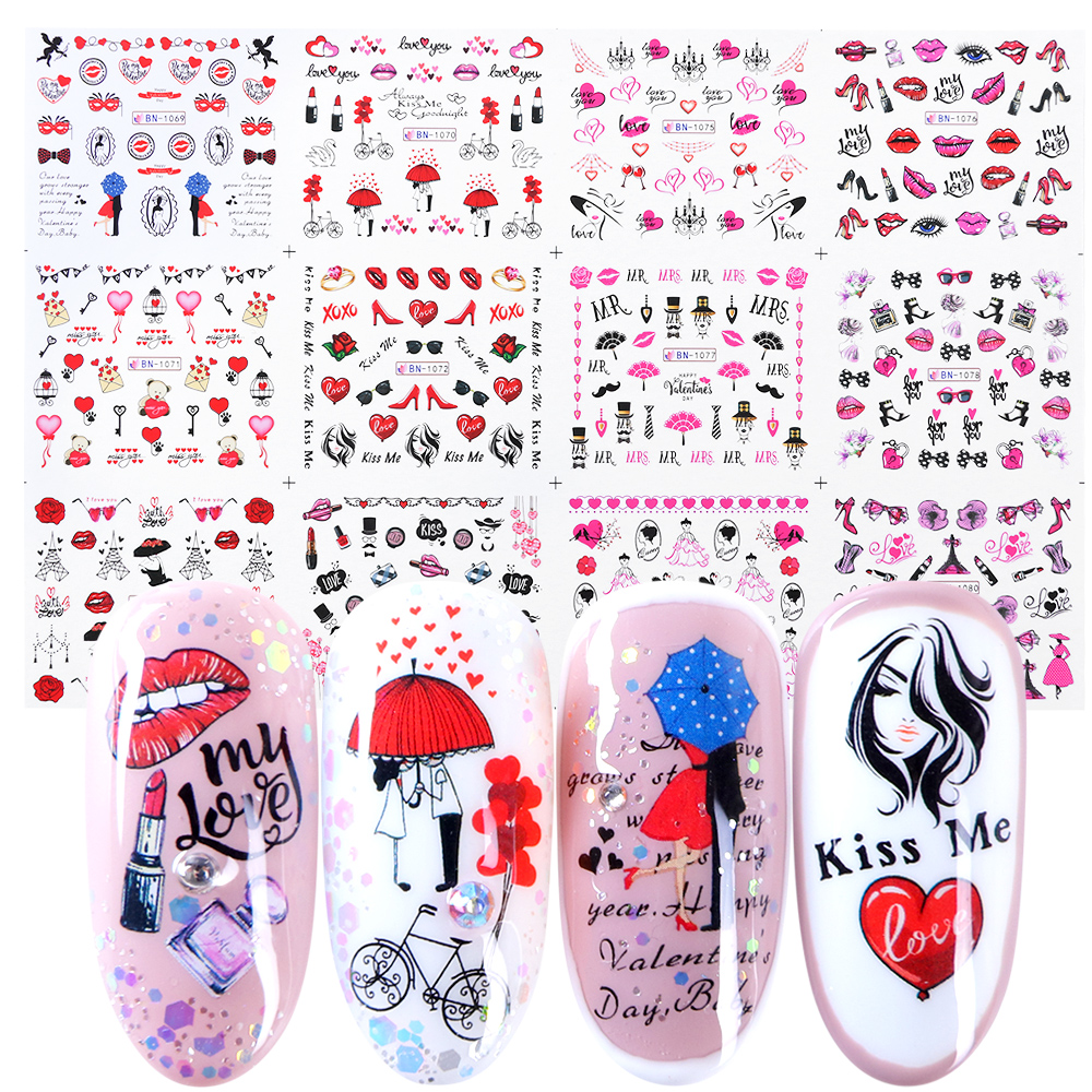 12pcs Romantic Valentines Water Decals Sliders Nail Art Decorations Stickers Sexy Lips Flower Heart Tattoo Wraps JIBN1069-1080