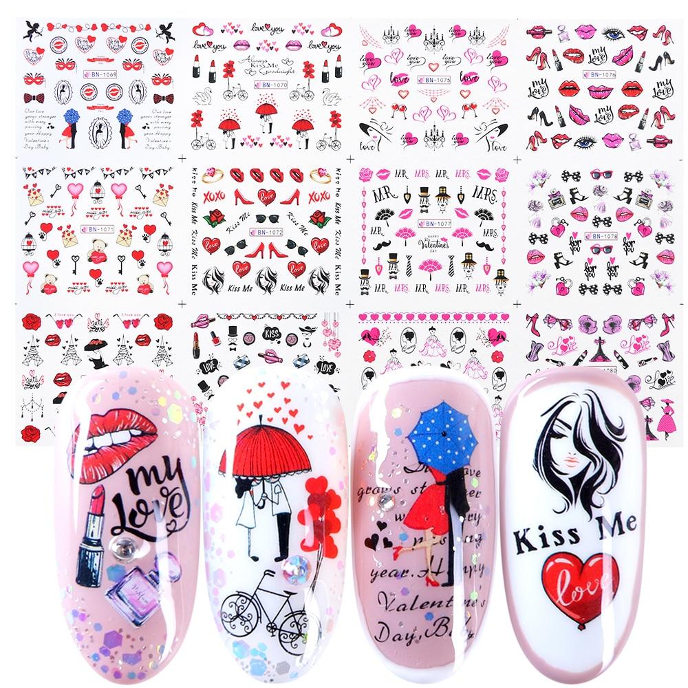 12pcs Romantic Valentines Water Decals Sliders Nail Art Decorations Stickers Sexy Lips Flower Heart Tattoo Wraps JIBN1069-1080