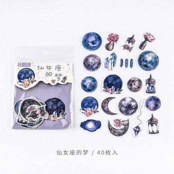 40 unids/bolsa pegatinas decorativas de sueño de Andrómeda púrpura estrellada decoración de cuenta de la mano del cuaderno