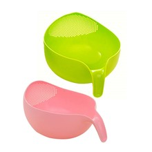 2 Pcs Durable Rice Washing Filter Strainer Kitchen Tool Beans Peas Sieve Basket Cleaning Gadget Filtering Green & Pink(China)