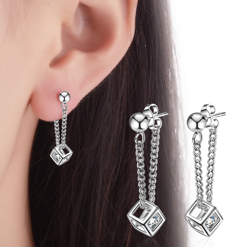 Simple Elegant 925 Sterling Silver Cube Love Window Zircon Tassel Sugar Drop Earrings For Women brincos oorbellen Best Gift