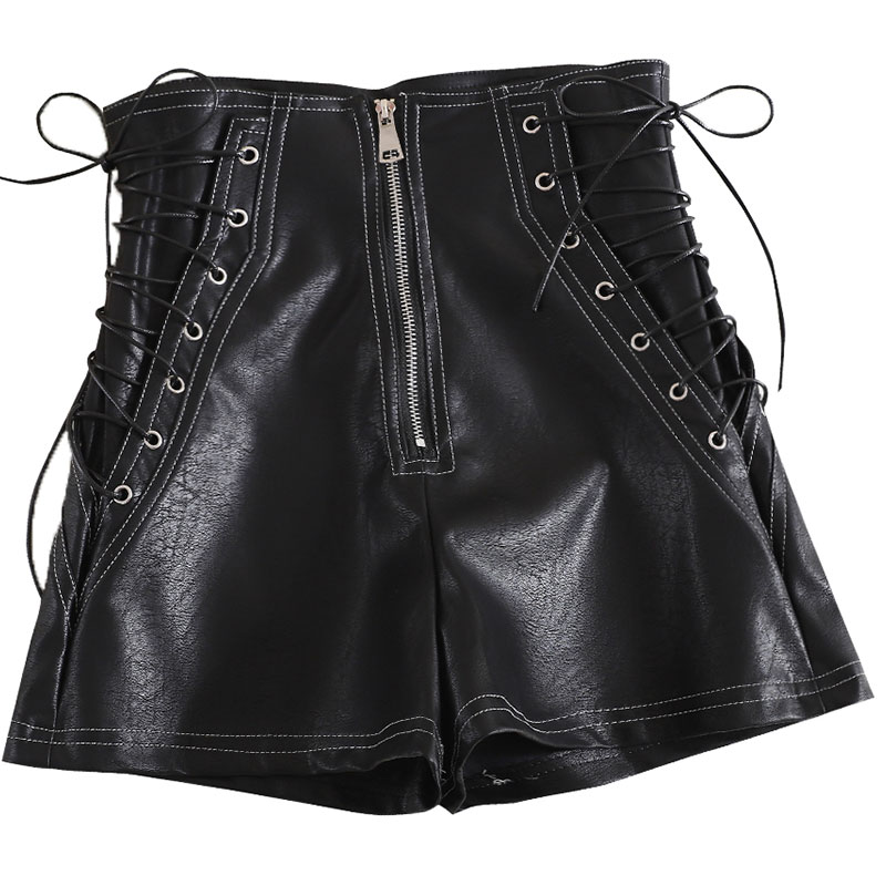 lace up leather <font><b>shorts</b></font> women <font><b>shorts</b></font> large size <font><b>black</b></font> white PU high waisted <font><b>SHORTS</b></font> womens <font><b>sexy</b></font> <font><b>shorts</b></font> korean fashion wide leg image