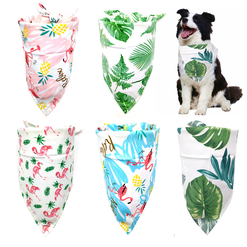 New Design Dog Cat Bandana Bibs Tropical Rainforest Style Cute Puppy Dog Scarf Adjustable Personalized Dog Bandanas Pet Supplier