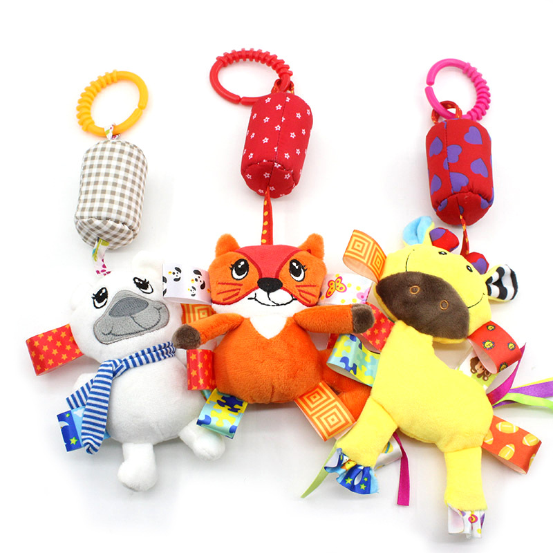 Dolery Infant Animal Wind Chime Baby Plush Bed Hanging Bell Infants Plush Cart Toy Pendant