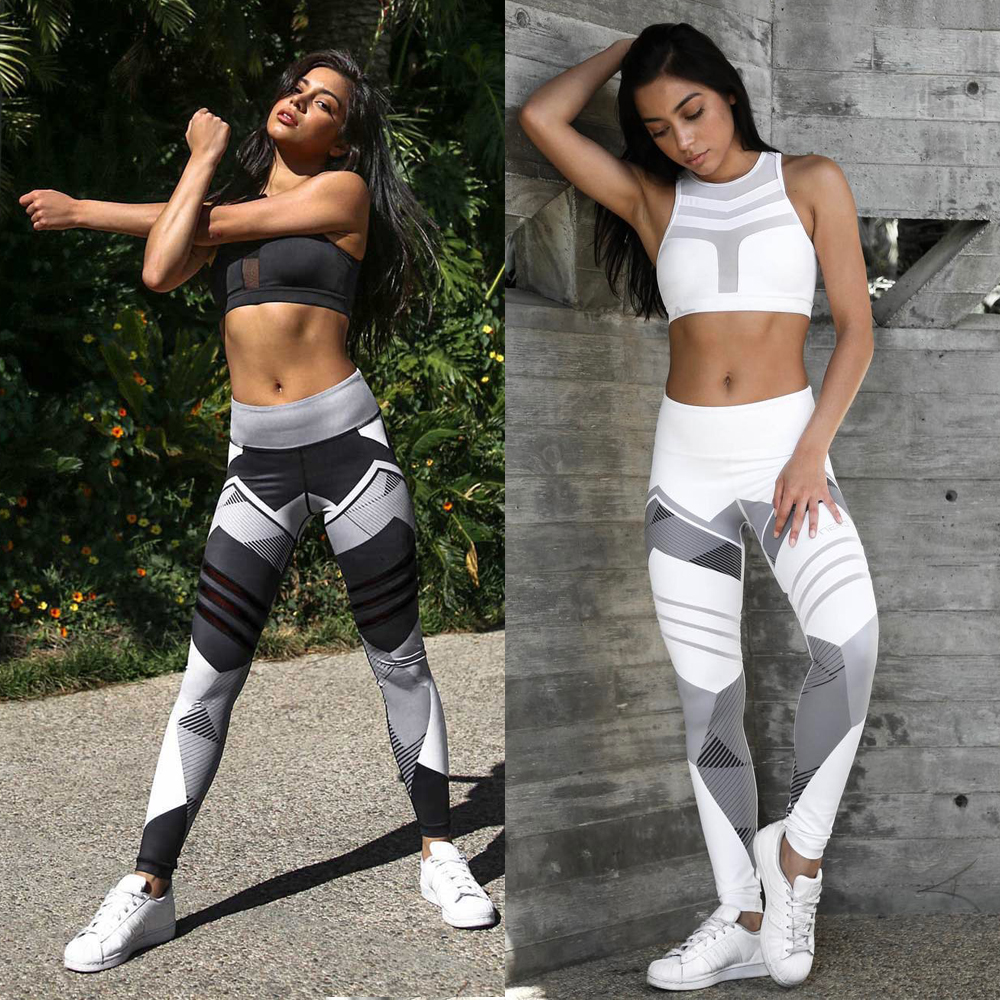 Women Quick Dry Sport Fitness Leggins Geometric Printed Sports Pants Yoga Pants Leggings Slim Tights Trousers For Women S-XXXL