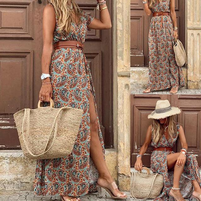 Boho  Deep V Neck Sleeveless Paisley Print Belt Dress 5