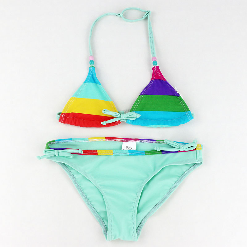 New Style Children Multi-color Stripe Pattern Split Type CHILDREN'S Bikini Swimwear GIRL'S Swimsuit Wholesale Foreign Trade