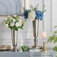 Luxury Gold Silver Plated Alloy High Legged Vase Flower Device Restaurant Floral Modern Ornaments Craft Decor Home Hotel Desktop