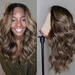 Парики из цветных человеческих волос с эффектом омбре, фронтальные волнистые, предварительно выщипанные, на сетке 13 х4, для женщин