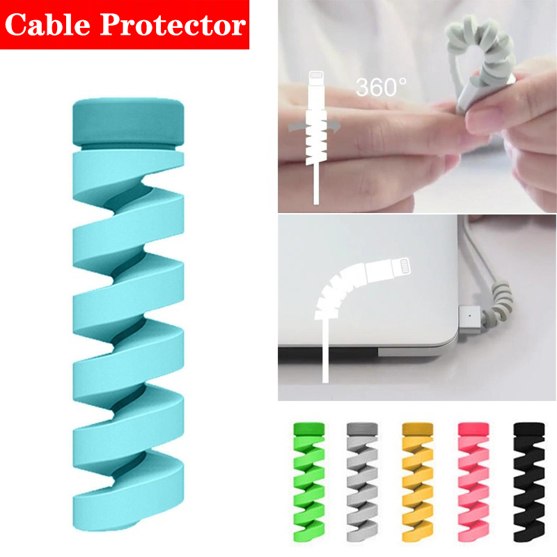 Data Cable Protector Multicolor Spiral for Mobile Phone Charging Data Cable Holder Cover Clip Charger Cord Organizer Management
