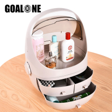 GOALONE Portable Cosmetic Storage Box Small Plastic Box Acrylic Makeup Organizer Dustproof  Waterproof Drawer Organizer with Lid