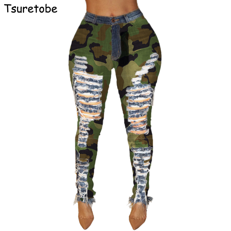 Tsuretobe Skinny Hole Ripped Jeans Women Casual Camouflage High Waist Pencil Pants Fashion Patchwork Denim Pants Female Trousers