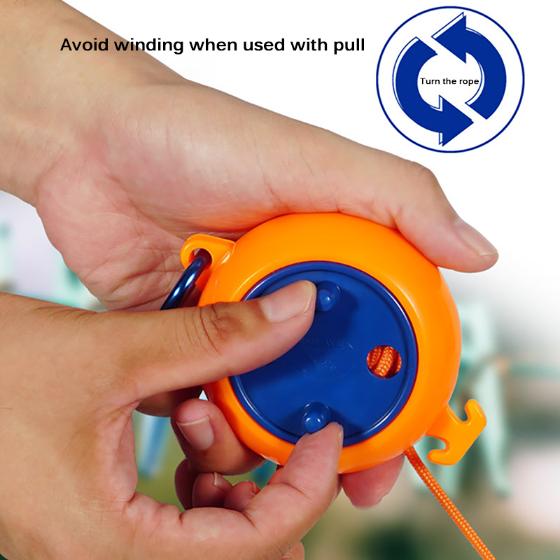 Retractable Drying Wire Portable Outdoor Indoor Windproof Clothesline Retractable Clothesline Rotation Recycling Drying Rope
