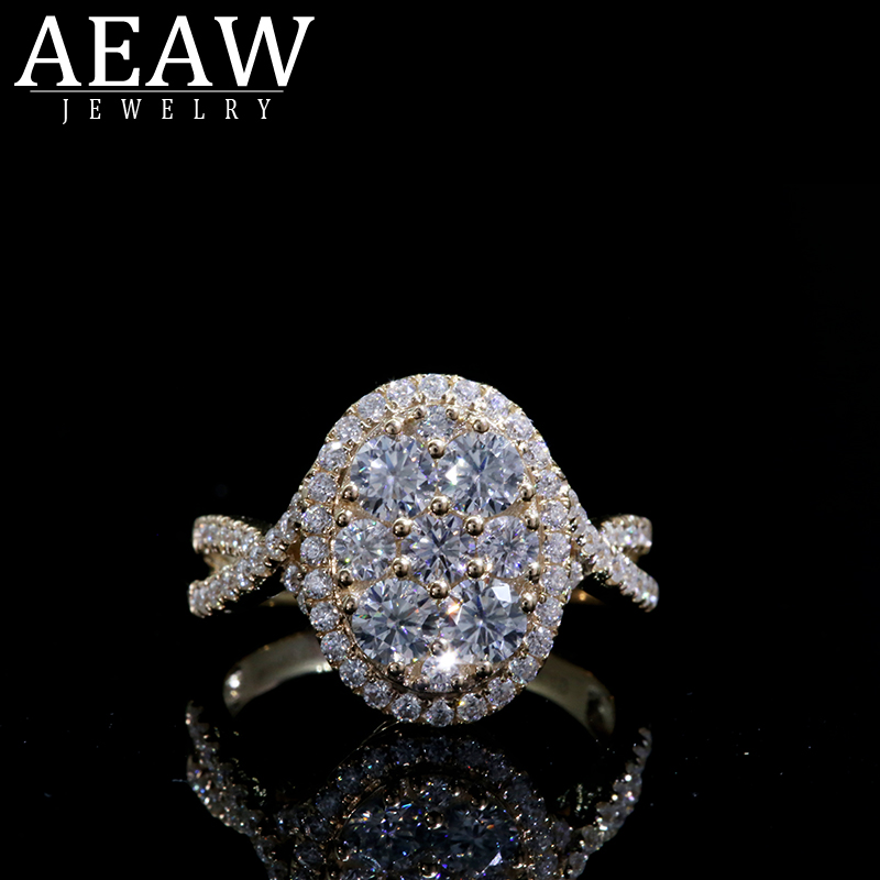 AEAW 7PCS Hot Sale New 2019 Luxury Jewelry 18k Yellow Gold Round Cut Moissanite Cubic Women Wedding Band Ring Set For Women