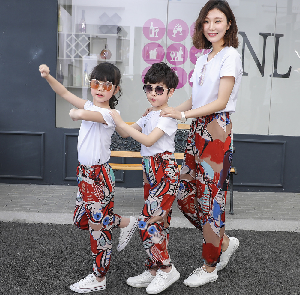 Summer Parent-child Pants Cotton Silk Bloomers Family Matching Clothes Casual Print Pants Woman Vintage Bohemian Trousers Beach