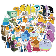 50pcs Adventure Time Cartoon PVC Cute Waterproof Sticker For Luggage Wall Car Laptop Bicycle Notebook Laptop Toys Stickers F2