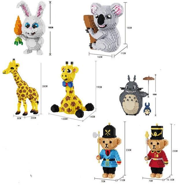 מיני לבנים Balody בלוק בעלי החיים DIY קריקטורה Totoro קואלה דוב Giraffa בניין צעצוע לילדים אין תיבה