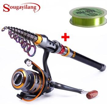 Sougayilang 1,8-3,6 m, caña de pescar telescópica y 11BB Rueda de carrete de pesca, Combo de caña de pescar de viaje portátil, caña de pescar giratoria