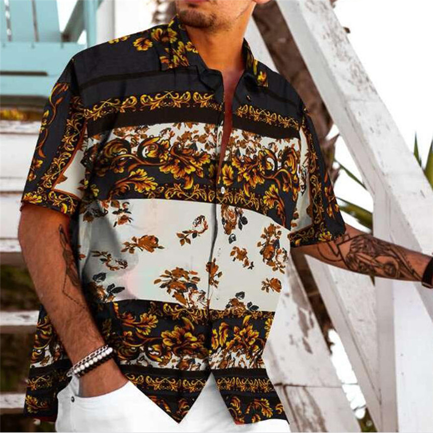 KLV <font><b>Shirts</b></font> <font><b>Men</b></font> <font><b>Summer</b></font> Fashion <font><b>Shirts</b></font> Casual Printed <font><b>Shirts</b></font> Short-Sleeve Top Blouse Hawaiian Vintage <font><b>Shirts</b></font> image