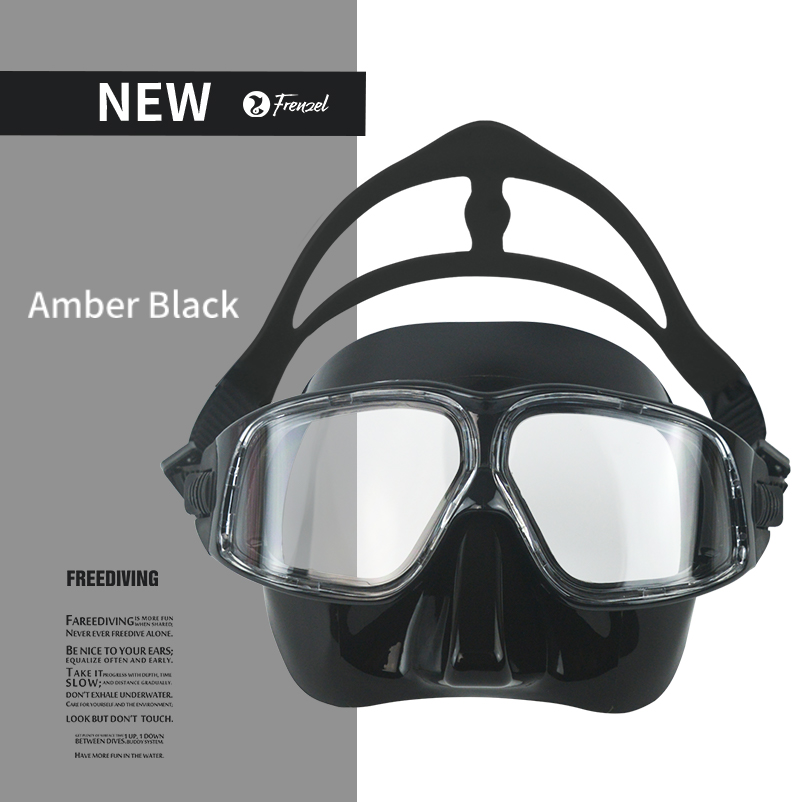 Free Diving Mask Professional Low Volume Spearfishing Scuba Mask Soft Silicone Anti Fog Swimming Snorkel FRENZEL Black&White