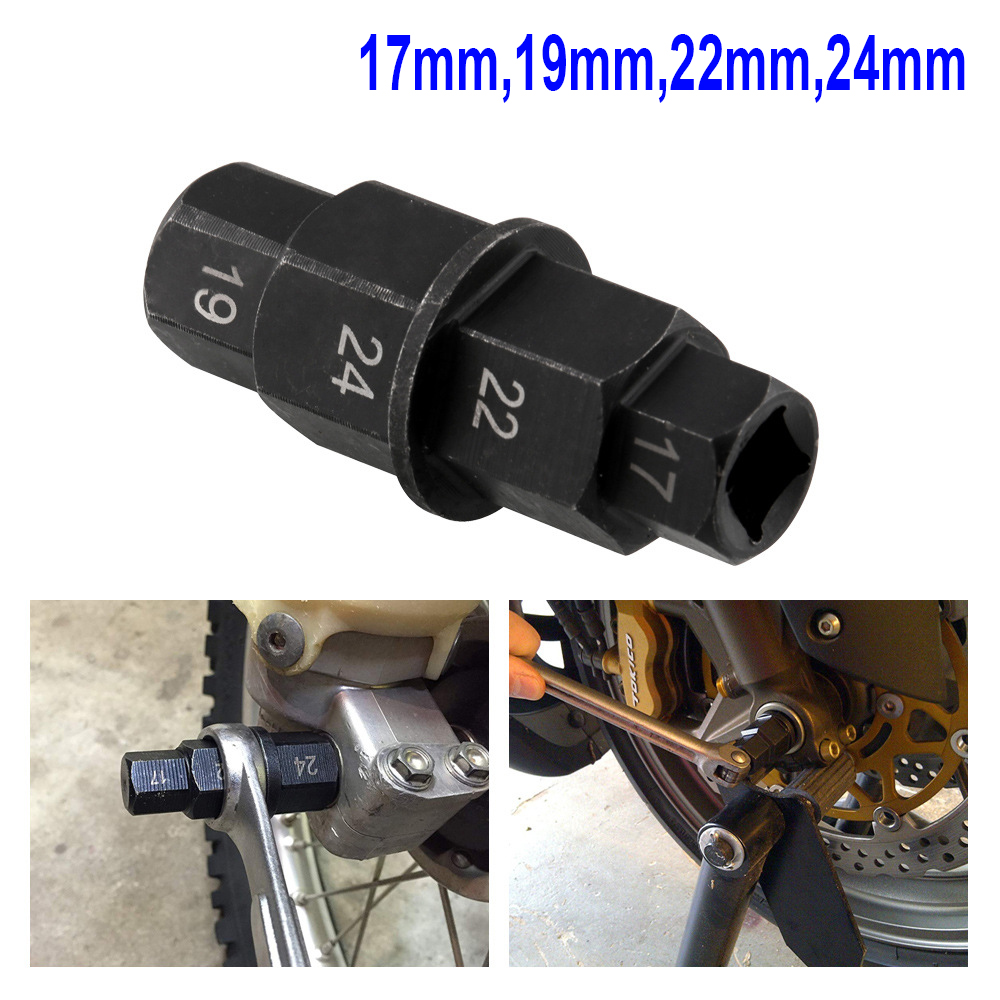 Motorcycle Hub Front Axle Socket Adapter 17 19 22 24mm Allen Spindle Driver Tool