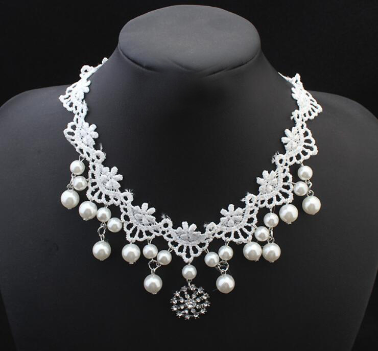 Korean-style Fashion Bride Jewelry White Lace Hanging Pearl Entirely Handmade Necklace Accessories In Man