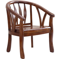 Solid Wood Chair Backrest Modern Chinese Style Single Bedroom Balcony Hotel Old Round