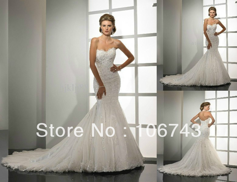 Free Shipping Mermaid  With Crystal 2018 New Sexy Custom Size Lace Strapless Sweetheart Mermaid Bridal Gown Bridesmaid Dresses