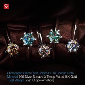 Image 4 - GIGAJEWE 0.5ct 5 مللي متر EF الجولة 18K الذهب الأبيض مطلي 925 الفضة مويسانيتي خاتم الماس اختبار مرت مجوهرات امرأة صديقة هدية
